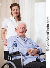 Disabled man at nursing home