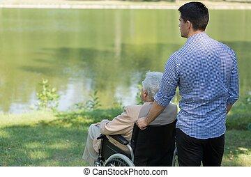 Disabled man at the lake