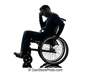 disabled man head in hands wheelchair silhouette - one...