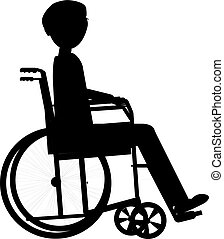 Disabled man in a wheelchair, medical health concept silhouette illustration background vector
