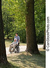 Disabled man in the park