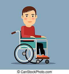 Disabled man sitting in wheel chair. Recovery period. Vector illustration.