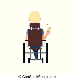 Disabled man in wheelchair drinking cocktail, summer vacation, , rehabilitation of disabled people concept, back view vector Illustration on a white background
