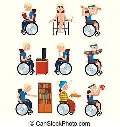 Disabled man in wheelchair in different situations set, rehabilitation and active lifestyle of disabled people concept vector Illustration on a white background