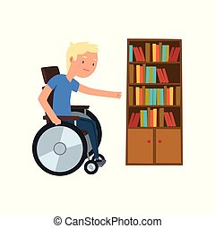 Disabled man in wheelchair next to the bookcase vector Illustration on a white background