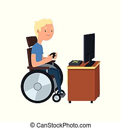 Disabled man in wheelchair playing computer game, rehabilitation of disabled people concept vector Illustration on a white background