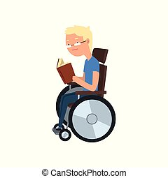 Disabled man in wheelchair reading a book, rehabilitation of disabled people concept vector Illustration on a white background