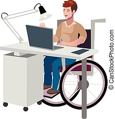 Disabled man in wheelchair working with computer
