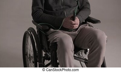 Disabled man suffering from loneliness - Old Lonely Disabled...