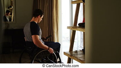 Disabled man talking on mobile phone 4k