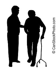 Illustration of disabled man walking with woman. Isolated white background. EPS file available.