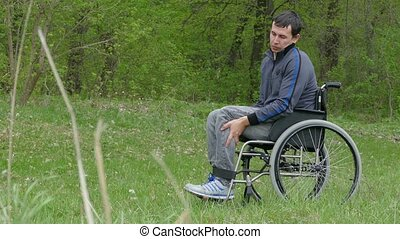 disabled man wheelchair with laptop in a wheelchair working on nature green background