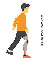 Disabled man with artificial leg vector illustration isolated on white.