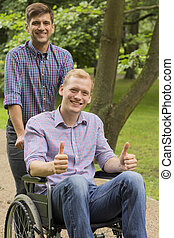 Disabled man with his brother