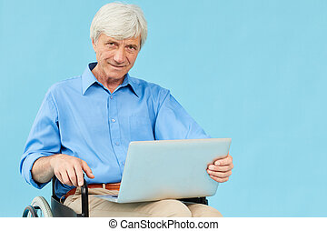 Disabled man with laptop