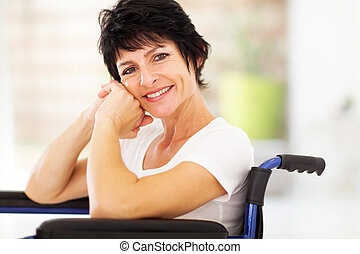 disabled middle aged woman - happy disabled middle aged...