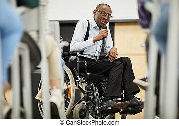 Disabled motivational speaker at conference