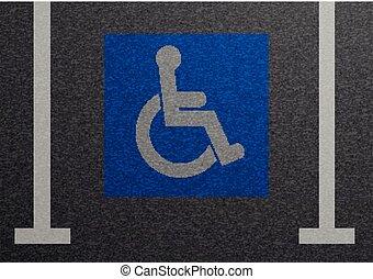 Disabled Parking Lot - detailed illustration of a blue...