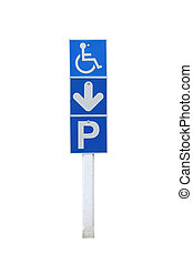 disabled parking permit sign on pole isolated on white background