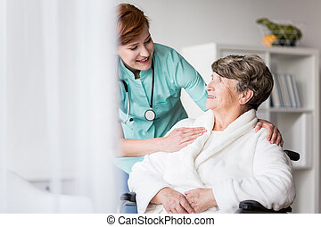 Disabled patient during hospital treatment