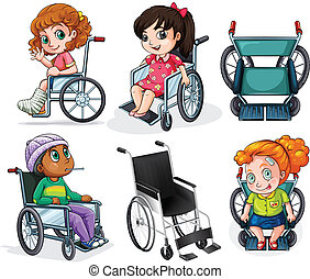 Disabled patients with wheelchairs