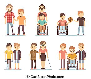 Disabled people and friends helping them vector set