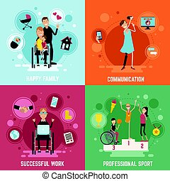 Disabled People Concept Icons Set - Disabled people concept...