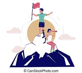 Disabled people conquering mountain peak, vector flat illustration