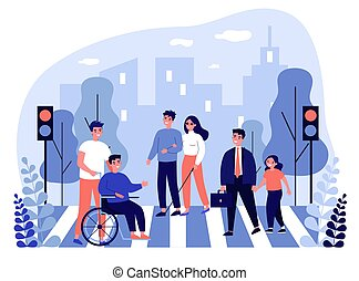 Disabled people crossing street