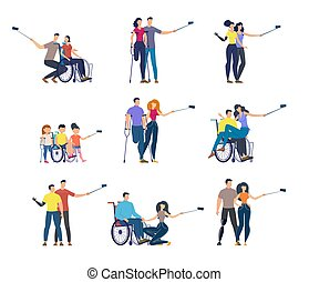 Disabled People Flat Vector isolated Character Set