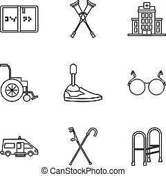 Disabled people icons set, outline style