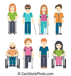 Disabled people isolated on white background. Disability person set vector illustration