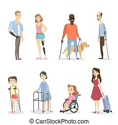 Disabled people set with leg or arm absence or blind.