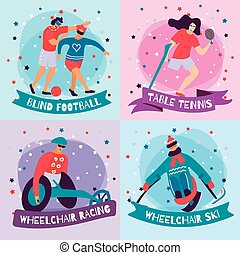 Disabled People Sport Flat Icon Set
