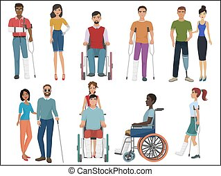 Disabled people with friends helping them set. Vector illustration.