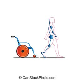 Disabled person getting out of a wheelchair using an exoskeleton concept vector illustration, medical servo technology for people with disabilities for a full life