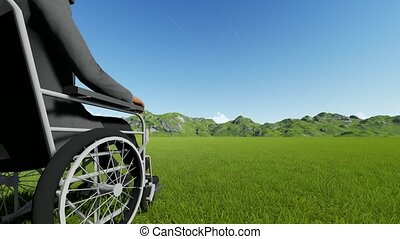 Disabled person in a chair against the backdrop of beautiful mountains