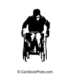 Disabled person in wheelchair, abstract isolated vector illustration