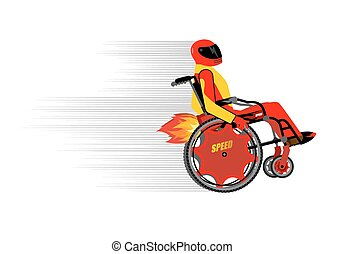 Disabled person in wheelchair wit turbo engine. Speed riding...