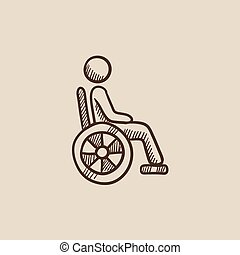 Disabled person sketch icon. - Disabled person sitting in...