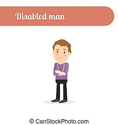 Man with fractures - Disabled person vcetor icon. Man with ...