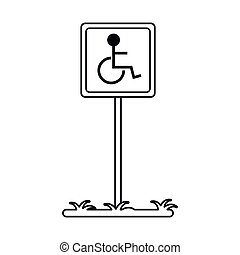 disabled person wheelchair sign road linear