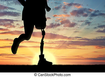 Disabled person with a prosthetic leg - Concept of...