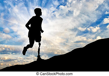 Disabled person with a prosthetic leg