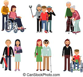 Disabled person with his helpful friends or volunteers. ...