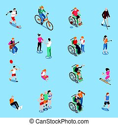 Disabled Persons Isometric Set - Disabled persons isometric ...
