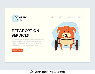 Disabled pet adoption concept. Vector flat graphic design web page banner poster illustration