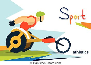 Disabled Race Athlete Wheel Chair Sport Competition