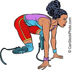 disabled runner black woman. Pop art retro illustration ...