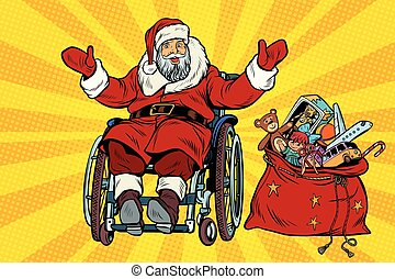 disabled Santa Claus is in a wheelchair, Christmas gifts